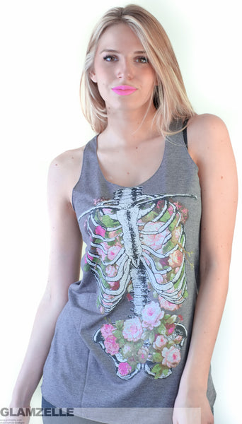 "BOHO ""Skeleton Ribcage"" Bone Floral Graphic Print Muscle Tank"
