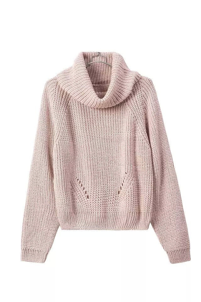 """Snow White"" Cowl Neck high Collar Knit Sweater (4 colors available)"