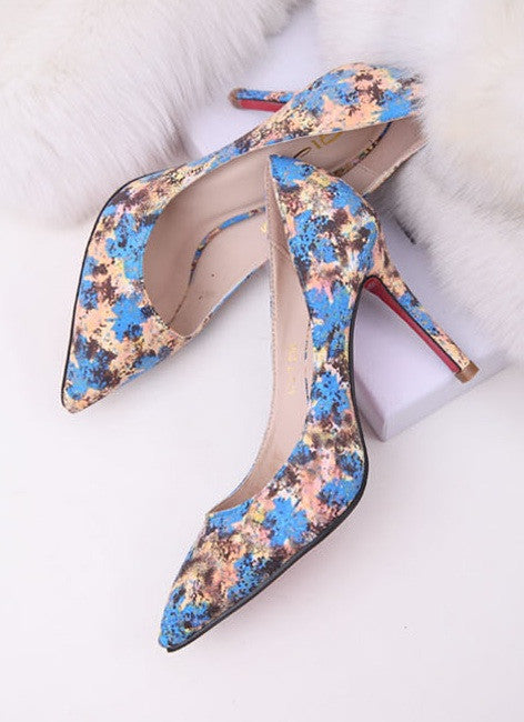 "RED SOLES ""Splash of Blue"" High Heels (2 colors available)"
