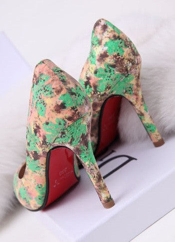 "RED SOLES ""Splash of Green"" High Heels (2 colors available)"