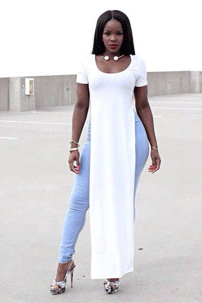 Kiesha Spliced Side Cut Long T-shirt (2 colors available)
