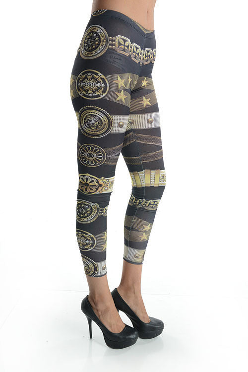 """Rule of Time"" Stars and chains Print Leggings"