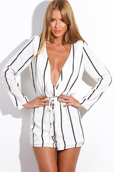 """Vertically Correct"" Stripes Onepiece Romper Playsuit"