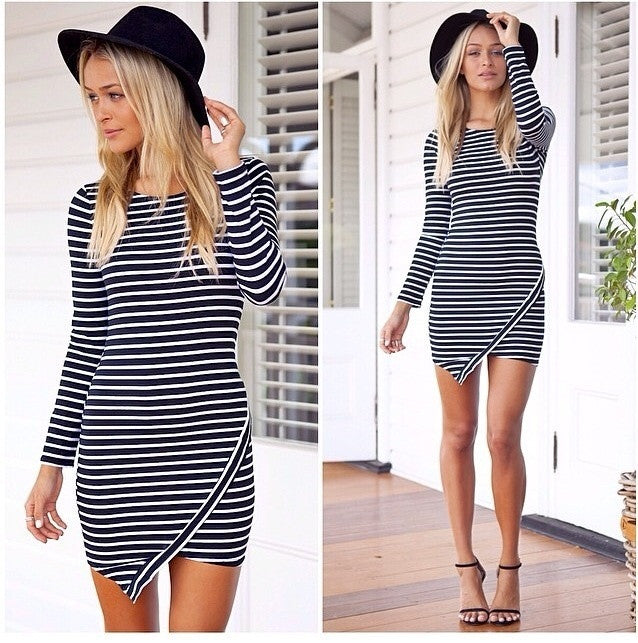 """Counting Stars"" Asymmetric Stripes Dress"