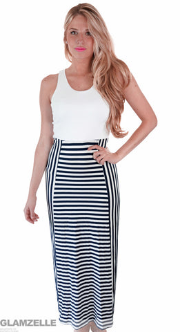 Killer Stripes Black and White Maxi Dress