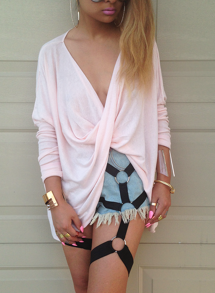 Ripped Harness Jeans Shorts
