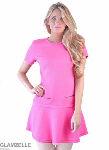 "CHIC ""Sweet Interlude"" Fuchsia Zippers Dress"