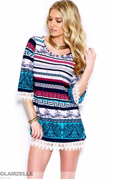 """Greek Key"" Festival Crochet Tunic Dress (2 colors available)"