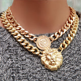 Chunky Gold Lion & Queen Necklace