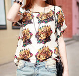 Tiger Head Print Chiffon T-Shirt