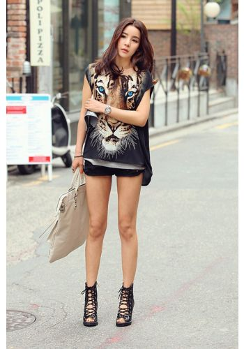 Tiger Print Top T-Shirt