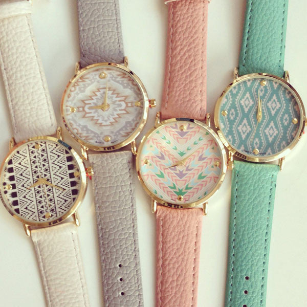 GENEVA Tribal Patterns Watch (4 COLORS AVAILABLE)