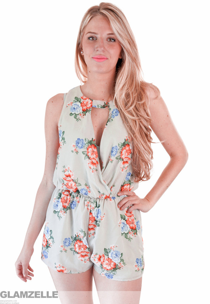 """Trip to the Soul"" Taupe Floral OnePiece Playsuit Romper"