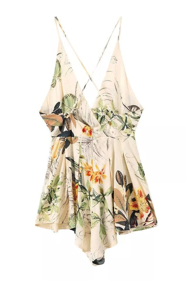 """Tropical Goddess"" Leaves Floral Onepiece Romper Playsuit"