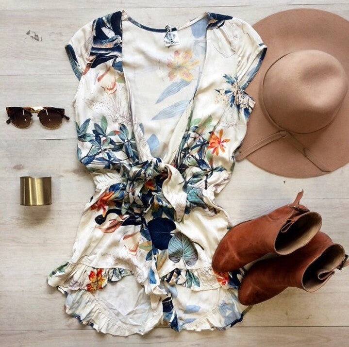 """Wild Tropics"" Leaves Floral Onepiece Romper Playsuit"