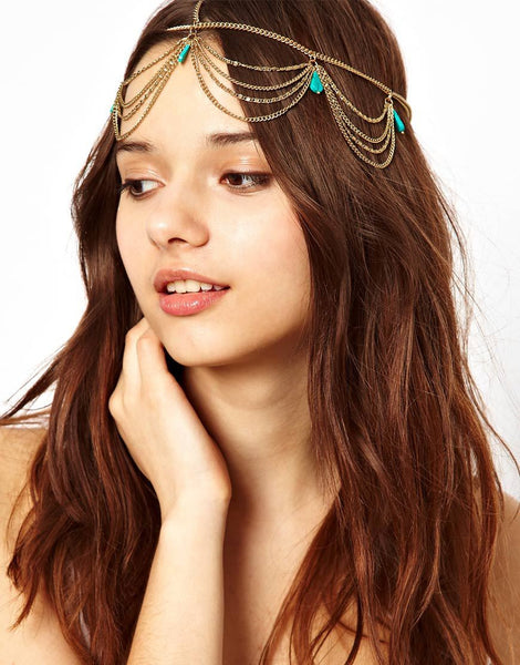 Bohemian Turquoise Chain Crown Head Band