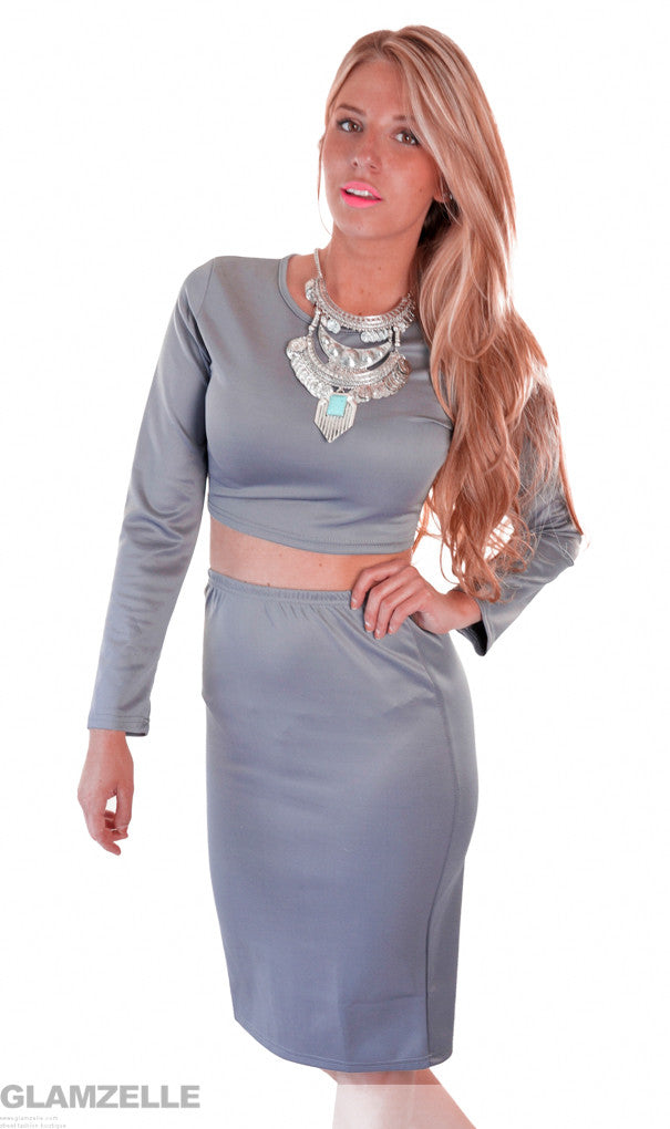 """Mrs Steele"" Grey 2 Pieces Bodycon Sexy Dress"