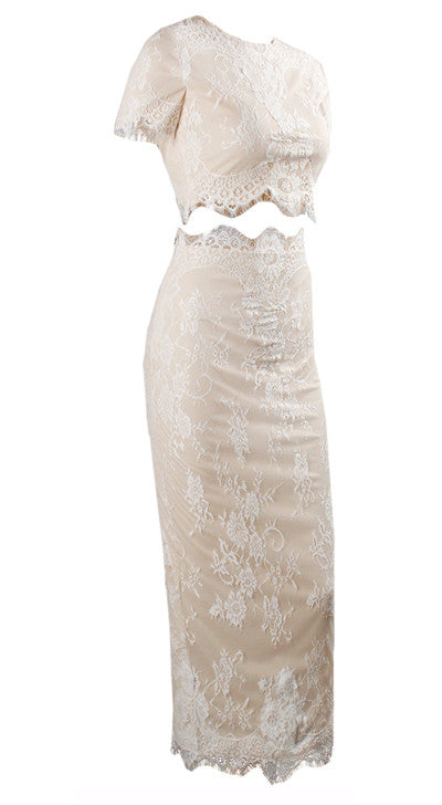 """Bedroom Whispers"" Nude Beige Lace Bodycon Two Piece Dress"