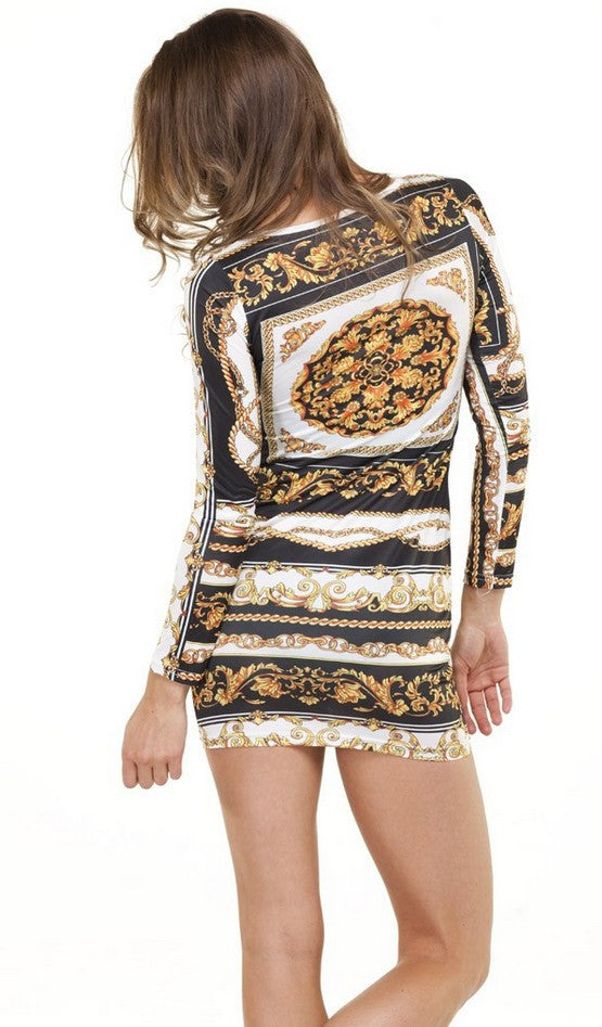 Chunky Gold Chains Bodycon Dress