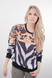 Baroque Zebra Striped Print Sweater