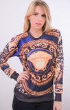 Medusa Head Gold Print Sweater