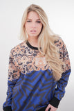 Baroque Royal Blue Print Sweater