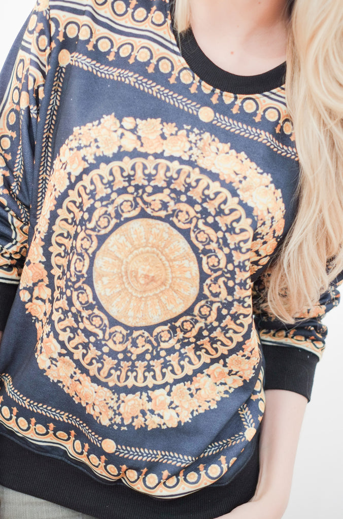 Gold Baroque Print Sweater