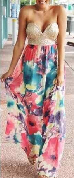 """Watercolor Dream"" Bandeau Strapless Maxi Dress"