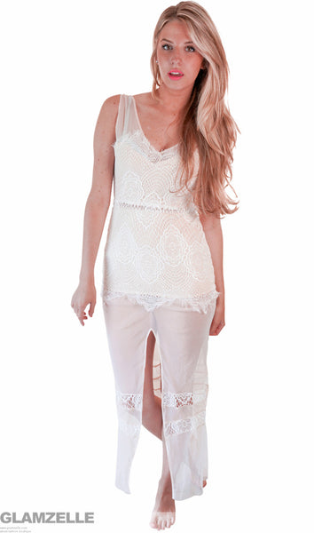 """Until the End of Time"" White Laces Maxi Dress"