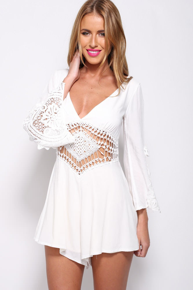 """To the Moon and Back"" Crochet Laces White Playsuit Romper"