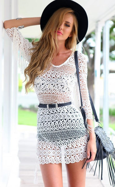 """Beach Day"" White Crochet Dress"