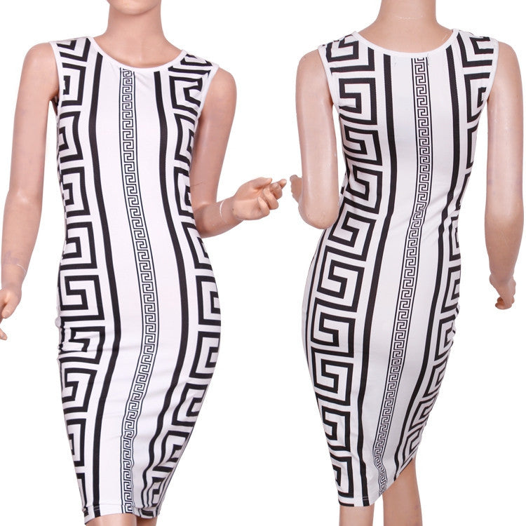 """The Rocco Life"" Greek Key Print Bodycon Dress (3 colors available)"