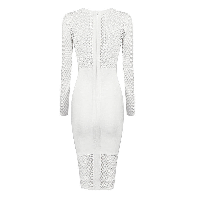 Amrezy White Mesh Cutout Bodycon  Dress