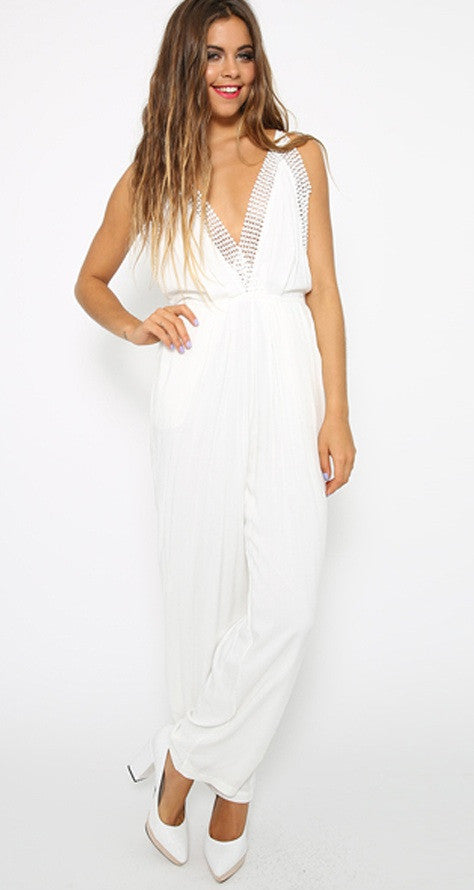 "CHIC ""White Everything"" OnePiece Long Romper"