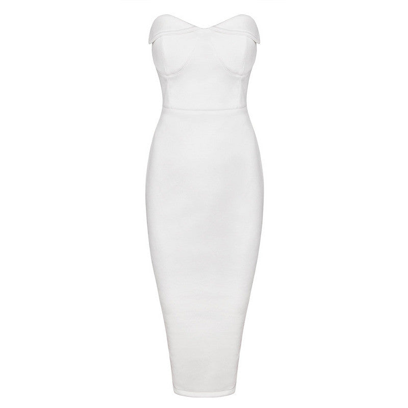 Pia White Suedette Strapless Bodycon Dress Dress