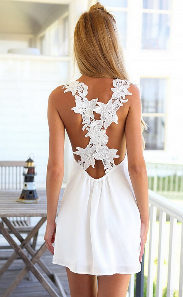 """Reel Sexy"" Crochet Back White Criss Cross Dress"