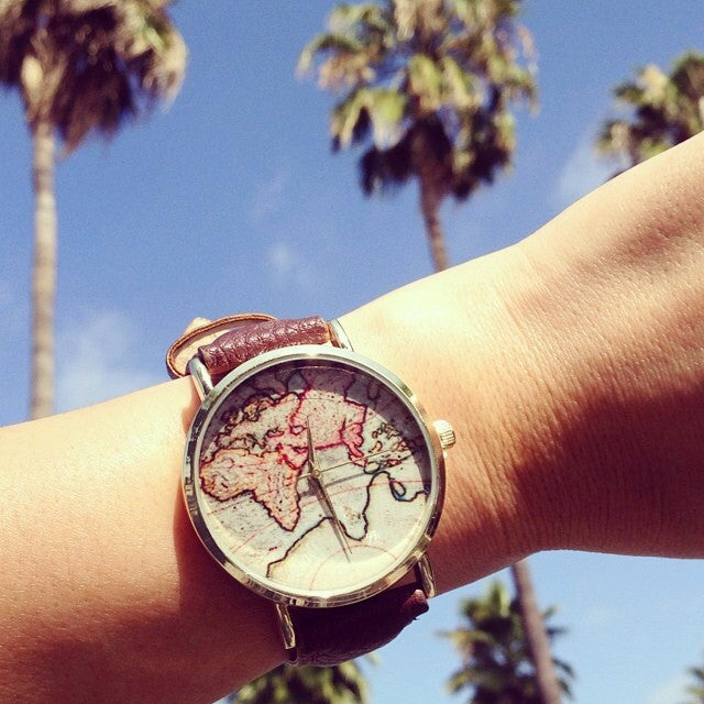 GENEVA World Map Pattern Watch (4 COLORS AVAILABLE)