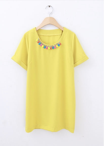 Multicolor Gem Necklace Dress- Yellow