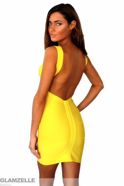 """Yellow Goddess"" Backless Low Back Yellow Bandage Dress"