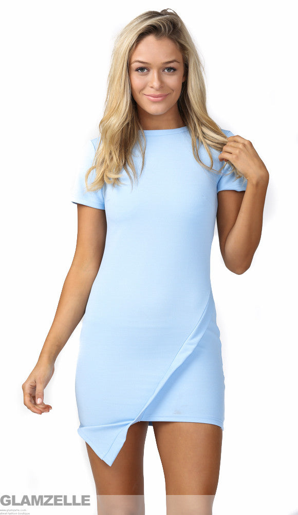 """You and Me Tonight"" Baby Blue Wrapped Dress"