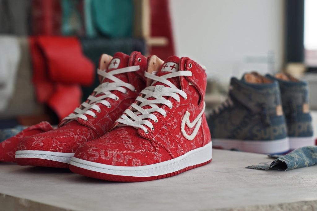 the best attitude 1d938 8e5d5 Red Supreme x LV Air Jordan 1 by JBFcustoms