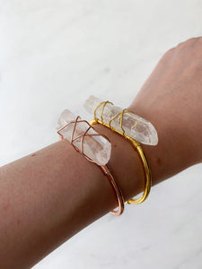Clear Quartz Stone Cuff Bracelet - Beauty Stone Co