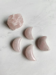 Rose Quartz Crescent Moon Beauty Stone
