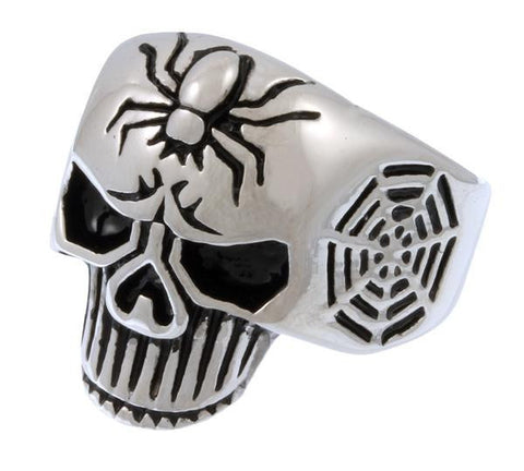 FREE Stainless Steel Spider Web Skull Ring
