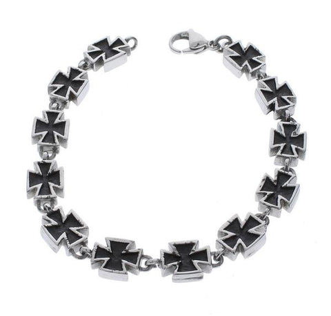 Black Maltese Cross Bracelet - 8 inch