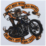 Don't Mess With Old Bikers Bumper Sticker (3 Pack)