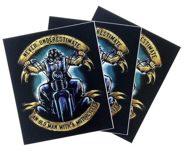 Never Underestimate an Old Man with a Motorcycle Bumper Sticker (3 Pack)