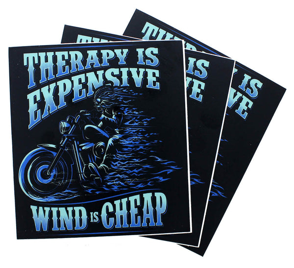 Therapy is Expensive Wind is Cheap Bumper Sticker (3 Pack)