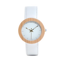 Bamboo White Leather Band - OnHerTime