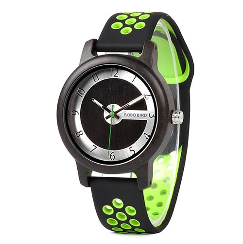 Bamboo Silicone Strap Wristwatch - OnHerTime